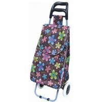 China Foldable Oxford Shopping Cart with Two Wheels Beautiful Flower Print BHT-005 on sale