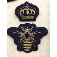 China Gold Crown / Bee Shaped Embroidered Bullion Wire Blazer Badges With Rhinestone wholesale