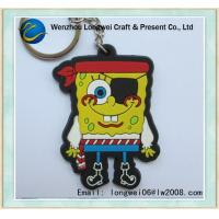 China Cute 2D Embossed Cartoon PVC Keychain SpongeBob For Decoration on sale