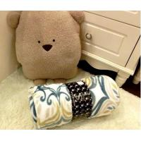 100% Polyester Printed Coral Colored Throw Blanket For Sofa / Bed / Airplane