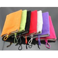 Buy cheap Soft Microfiber Pouch Bag for mobile, power bank, dual-pocket flannel protective sleeve product
