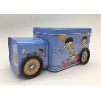 Buy cheap Candy Storage 2 Tin Branded Gift Boxes Blue Car Shape With Four Wheels For Kids product