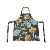 China Machine Washable Flower Pattern Canvas Material Women Bib Kitchen Apron With Pockets wholesale