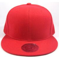 Red Blank Cotton / Acrylic Snapback Baseball Caps With Round Visor Hand Printing