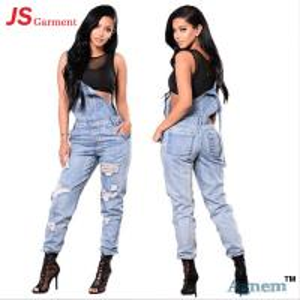 China Fashion Distressed Ladies Jeans Pant Slim Suspender Jumpsuit Type on sale