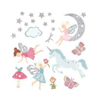 Buy cheap Fairy Glitter Wall Stickers Unicorn Girls Room Decor DIY Puzzle Fun Removable Stickers product
