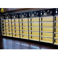 Buy cheap 25MM MDF Layer Wood Steel Frame Shelves With Advertising Board Led Light Black product
