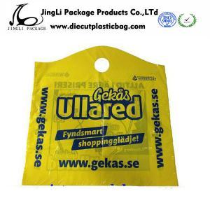 Buy cheap PE PO curve handle  Die Cut Plastic Bag Degradable product