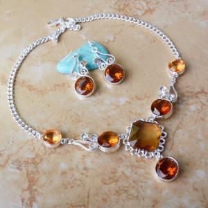 Buy cheap Ensemble en pierre de bijoux de partie de boucles d'oreille de collier de foulard de mode product