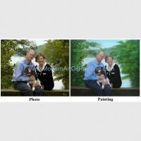 Buy cheap Custom Couple Portrait painting oil From Photo Husband and Wife with their Pet Painting on Canvas product