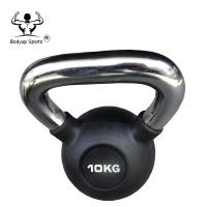 China Rubber Fitness Equipment Kettlebell Chromed Handle Professional Kettlebell on sale