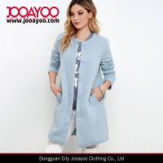 Buy cheap Ladies Collarless Long Sleeve Light Blue Wool Long Winter Coat product