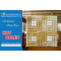 Buy cheap Pure white marble mosaic tiles mixed yellow onyx square background  tiles product