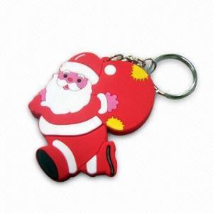 China Noël Keychain, fait de PVC et joint circulaire, de diverses tailles et couleurs sont disponible wholesale