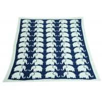 China Elephant Pattern Knitted Knitted Wool Blanket For Home Decoration on sale