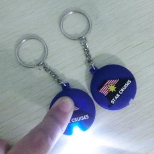 China Promotional 2d Hello Kitty Shape Led Keychain / Mini Keychain Led Light With Soft PVC Case on sale