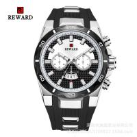 Buy cheap Silicone Band Mens Stainless Steel Watches Fake Chronograph With Big Face from wholesalers