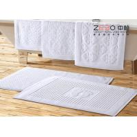 32S Yarn Customized Hotel Floor Towels 100% Cotton White Stone Pattern
