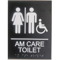 """Disabled Custom Restroom Signs 1/32""""  White Raised Tactile Text  Grade II"""
