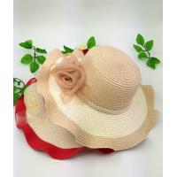 Buy cheap 100% Paper Straw Ladies Floppy Straw Hats With Silk Flowers Decoration 85cm*42cm*38cm product