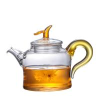 China 280ml Colorful Clear Glass Teapot With Removable Infuser Unique Design Borosilicate Kettle on sale