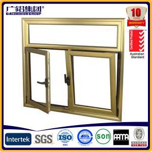 China Wood color Aluminium double glazed windows for tilt and turn aluminium window (Guang zhou) on sale