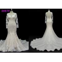Quality long sleeves customize made lace application bridal gown wedding dresses for sale