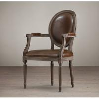 Wooden Round Back Leather Lounge Chairs , Faux Leather