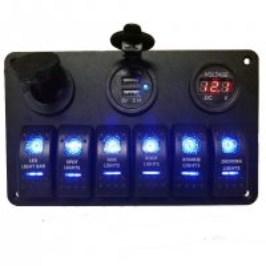 Buy cheap Waterproof Marine 12v 24v Boat Car Rocker Switch Panel With Digital Voltmeter USB Charger Socket product
