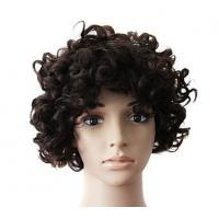 Buy cheap Brown Natural Human Hair Wigs With Bangs , Short Curly Human Hair Wigs product
