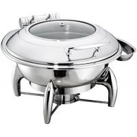 China Round Chafing Dish Hydraulic Lid with Glass Window Optional φ35cm 6.0Ltr Food Pan Stainless Steel Cookwares on sale