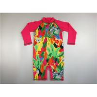 Buy cheap Tropical Colorful Childs Uv Swimsuit High Neck Back Zip Long Raglan Sleeve Extra Leg product