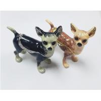 China Cute small metal decorative trinket boxes Chihuahua dog jewelry box on sale
