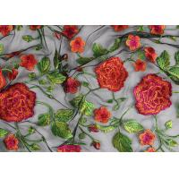 Bridal 3D Floral Embroidered Mesh Fabric , Red Flower Bridal Embroidered Net Fabric