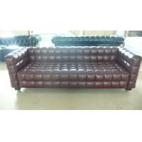 Buy cheap Modern 3 Seater Leather Sofa , Solid Wood Legs Grid Sofa 228 * 88 * 79cm product