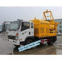 China Q345 agitating vane  yellow color Sinotruck CDW 4X2 25m3/hour multifunction concrete mixer and pump truck for sale on sale