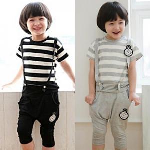 Buy cheap 2014 Boys suits cotton fashion suspender pants suits wholesale Children clothing 5pcs/lot product