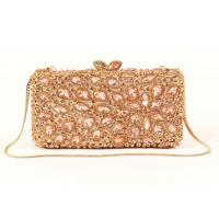 Women Crystal Gold Box Clutch Bag , Hollow Out Cocktail Party Purse