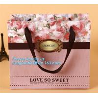 Quality Manufacturer hot sale cheap custom paper bag luxury kraft paper bag,pure color special paper flower bag with ribbons han for sale