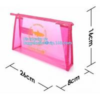China grip slider bags, Stand Up Cosmetic Pouch with Slider Zipper Closure, PVC HEAT SEALED BAG WITH SLIDER ZIPPER on sale