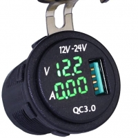 Buy cheap Waterproof QC 3.0 USB Charger Socket Power Outlet with Digital Voltmeter + Ammeter Monitoring for Car Boat Marine Rv Mot product