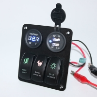Buy cheap Custom made Auto car marine 3 Gang Rocker Switch Panel with voltmeter and USB socket charger product