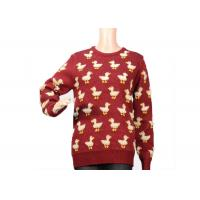 Buy cheap Ladies Crew Neck Red Mohair Sweater Jacquard 9 Gauge Cute Duck Knitted Pattern product