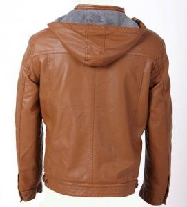 赤く、都市、贅沢な流行のメンズ フード付きPUの革のジャケットを持つ人を魅了して下さい