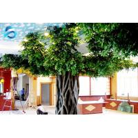 Attractive Evergreen Artificial Ficus Tree Steel Panel Supported Long Life Span
