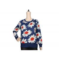 Buy cheap Ladies Navy Blue Womens Knit Sweater Crew Neck Jacquard Pattern For Spring product