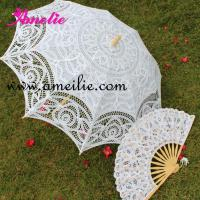 Quality Battenburg trim lace umbrella and fan for sale