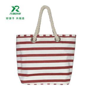 China Eco-friendly cheap customized canvas bag fashion shoulder bag canvas stripe  shopping bag on sale