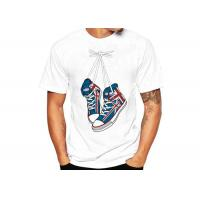 Buy cheap White Sublimation Printed Casual T - Shirts Cotton Crew Neck Regular Fit product