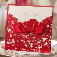 Buy cheap Elegant Red Small Flowers Silk Tie with Lace Tie Wedding Invitations Cards with Envelopes and Seals product